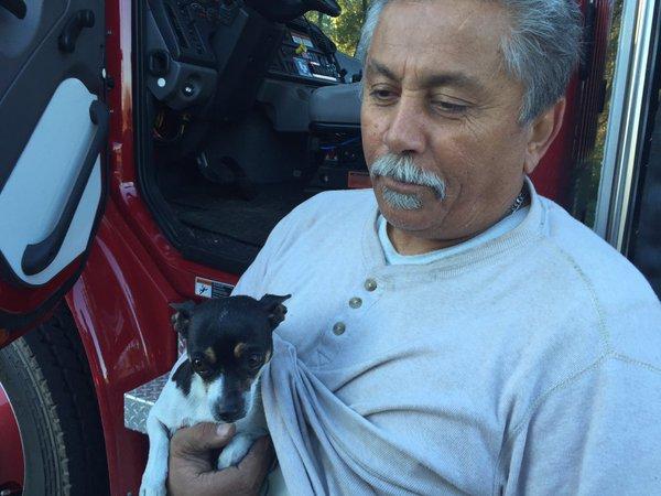 man and dog safe after 18-wheeler fire_104987