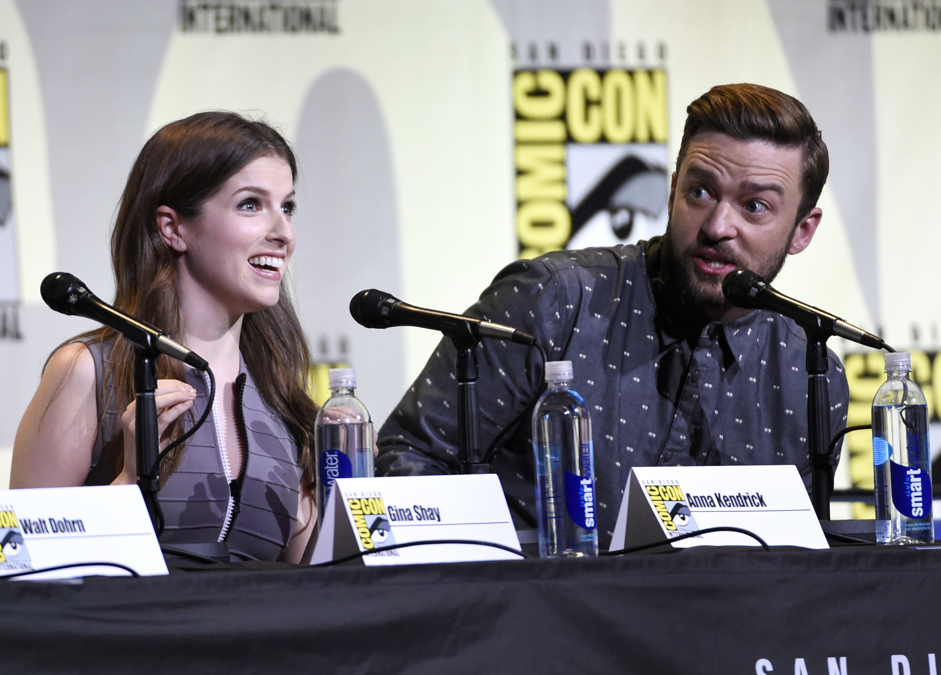 "Anna Kendrick, left, and Justin Timberlake attend the ""Trolls"" panel on day 1 of Comic-Con International on Thursday, July 21, 2016, in San Diego. (Photo by Chris Pizzello/Invision/AP)"