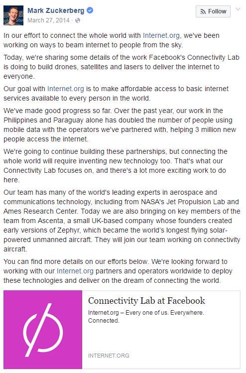 Facebook post by Mark Zuckerberg March 27, 2014
