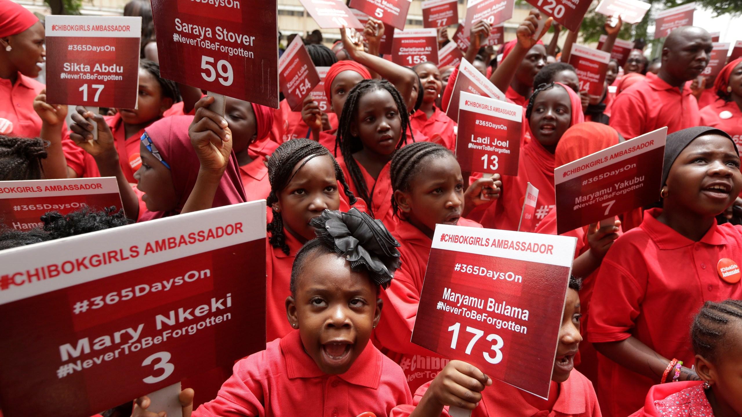FILE PHOTO _Chibok Ambvassadors_ bearing names of Nigeria Kidnapped Girls Photo by Sunday Alamba, AP Photo_228803