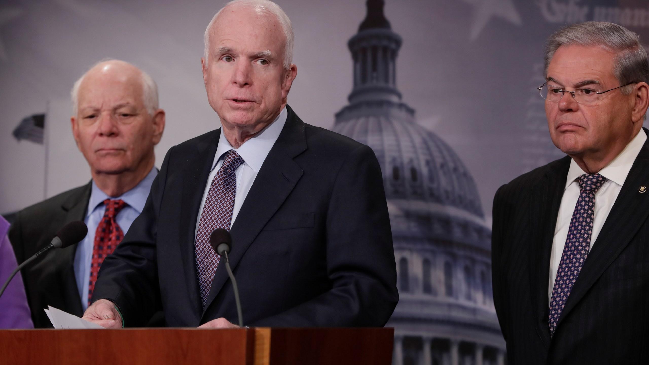 John McCain, Ben Cardin, Bob Menendez 01102017 Photo by J. Scott Applewhite, AP Photo_264417