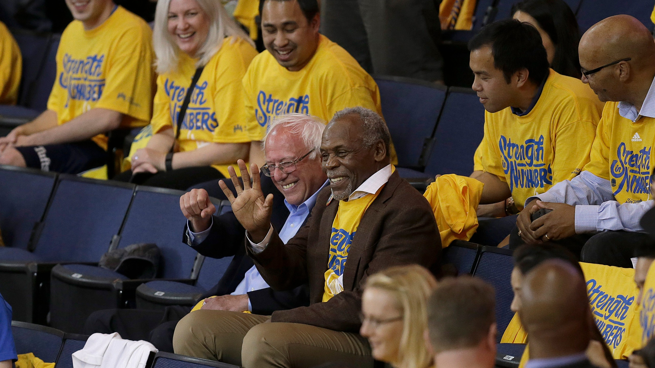 Bernie Sanders, Danny Glover Photo by Ben Margot, AP Photo_280077