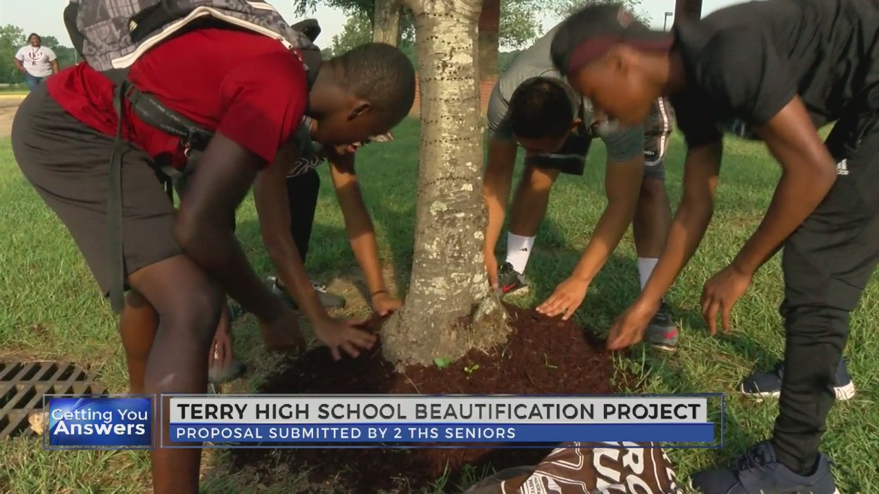 Students work to beautify Terry High School's campus