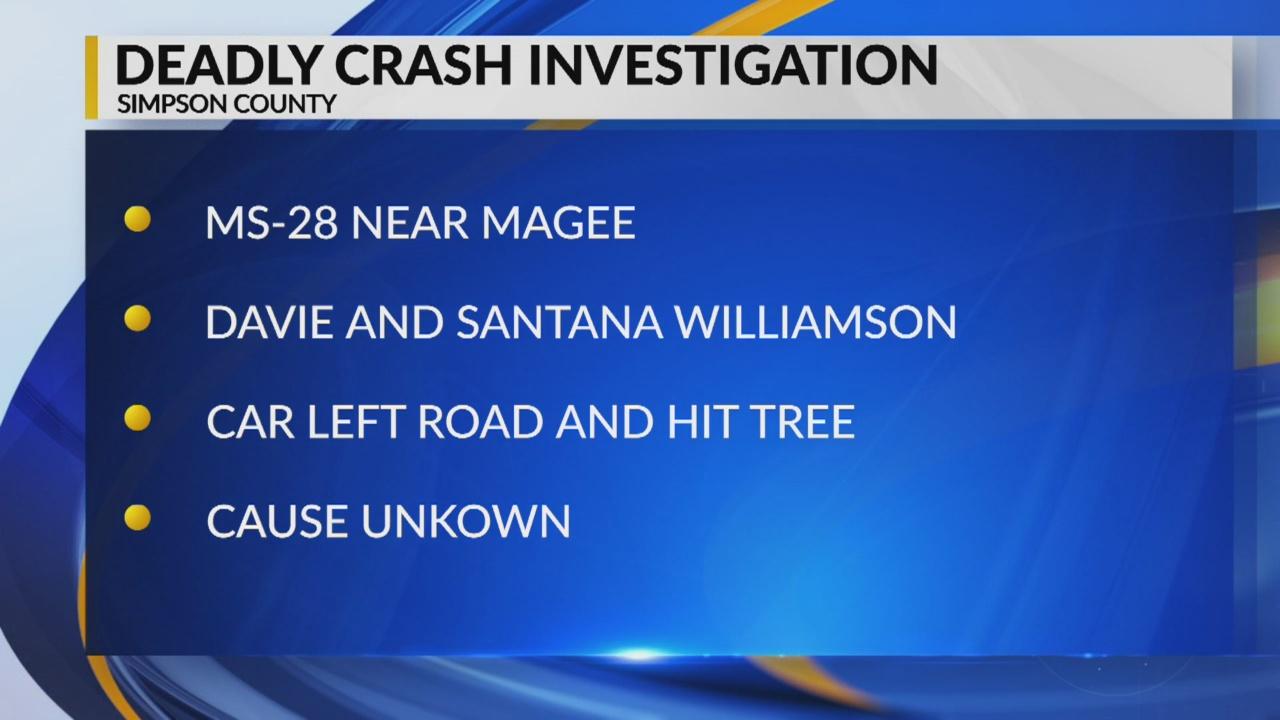 Two killed in single car crash near Magee   WJTV