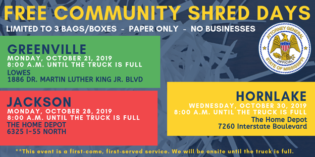 Mississippi neighbors can take part in Community Shred Days