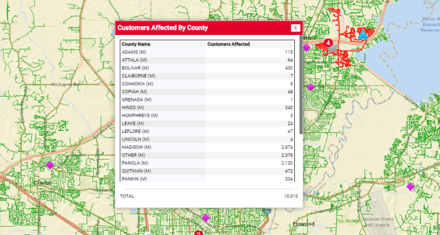 Entergy reports thousands of power outages in the metro