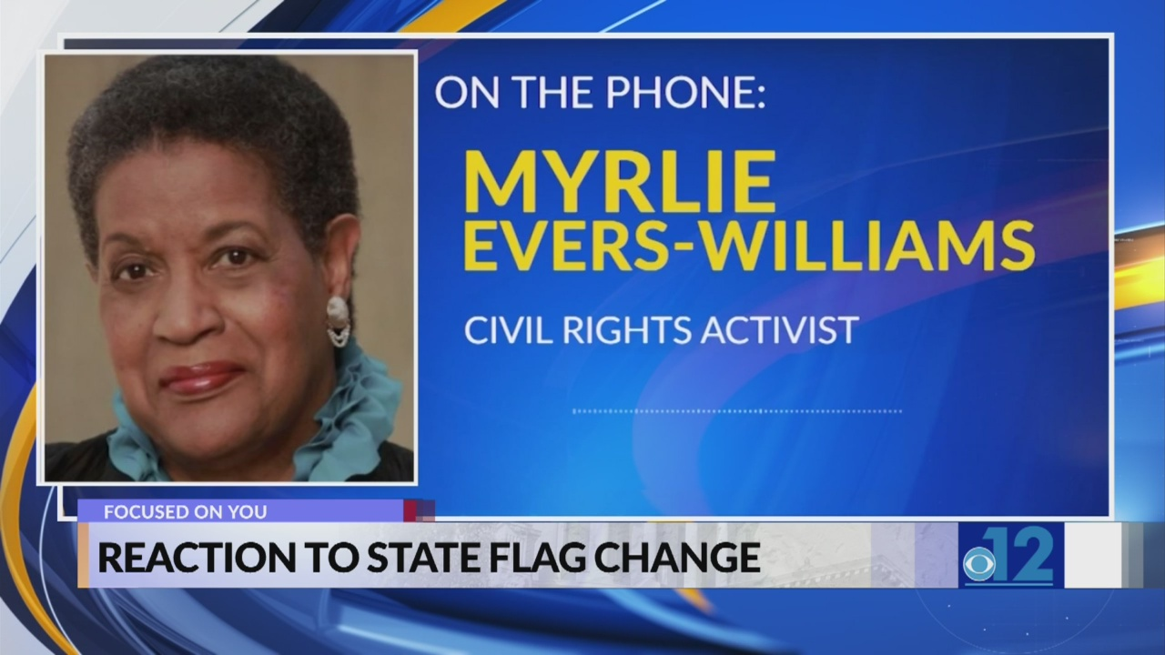 Myrlie Evers-Williams reacts to Mississippi state flag change